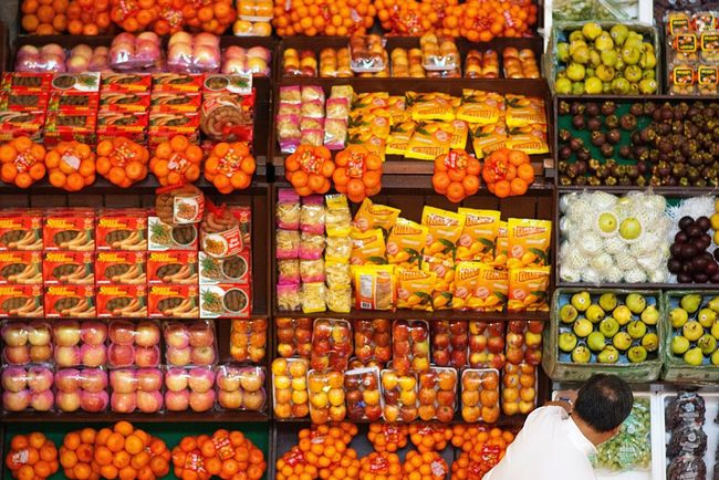 Fruits Fruit Stand Fruit Stall Shapes Colored Overhead Circles