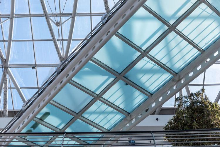 Low angle view of glass walkway