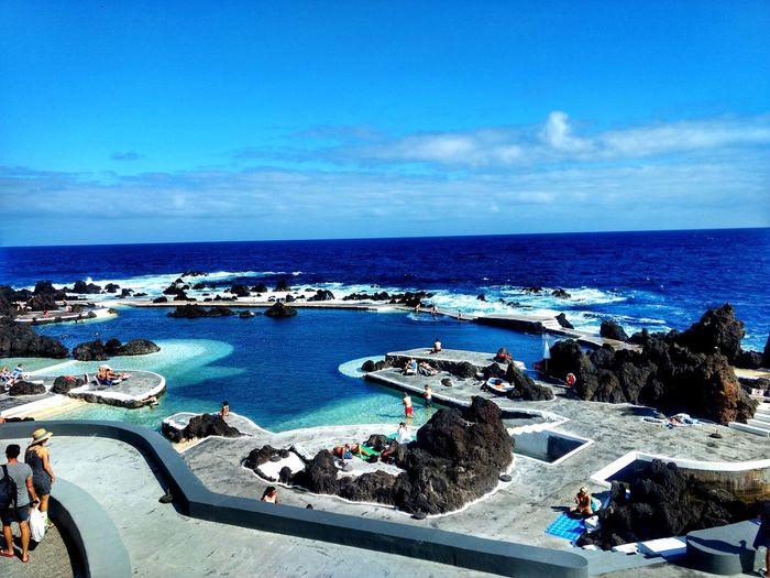 Pool Piscina Porto Moniz Madeira Madeira Paradise Water Sea Beach Blue Summer Sky Horizon Over Water Architecture Cloud - Sky Building Exterior Boat Coast Seascape Ocean Rocky Coastline Coastline