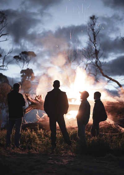 Silhouettes in front of a campfire Father & Son A7iii SonyA7III 55mm Western Australia Campfire Fire Silhouette Silence Crackling Dramatic Politics And Government Men Togetherness Sunset Silhouette Full Length Standing Group Of People Sky Fisherman