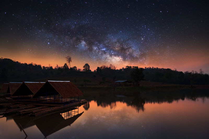 Architecture Astronomy Beauty In Nature Built Structure Galaxy Lake Milky Way Nature Night No People Outdoors Reflection Scenics Sky Star - Space Starry Tranquil Scene Tranquility Tree Water