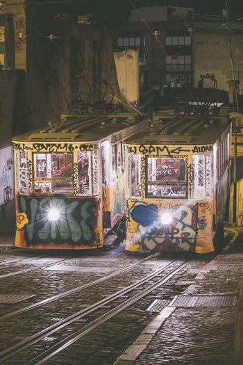 Graffiti on railroad tracks at night