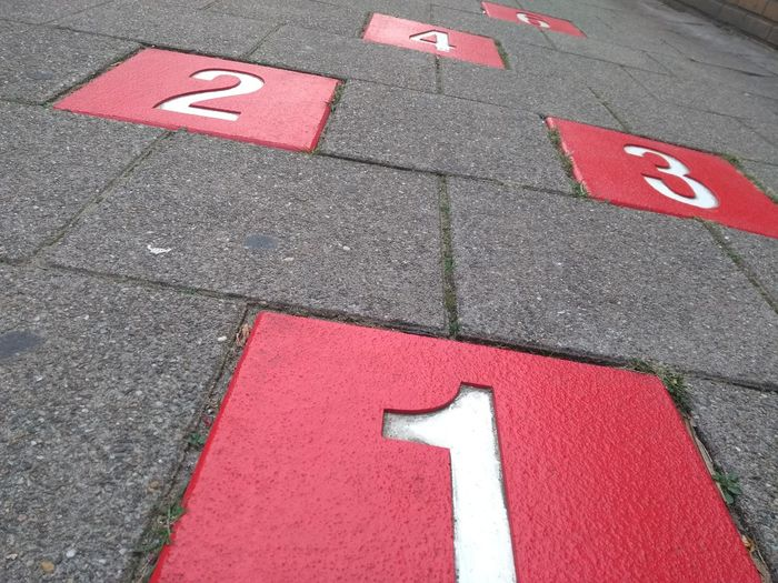 High angle view of numbers on street