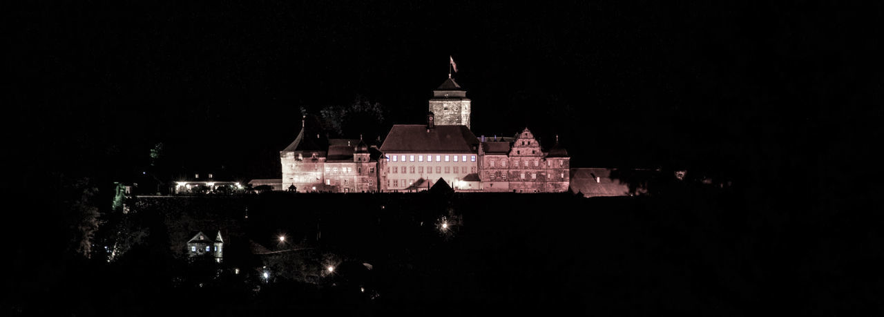 Festung Rosenberg in Kronach Architecture Black Background Building Exterior Built Structure Illuminated Night No People Outdoors Sky
