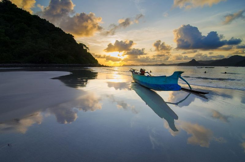 Sunset of selong belanak lombok Reflection Fishing Travel Sunset Nautical Vessel Landscape Outdoors Sky Cloud - Sky Water No People Day