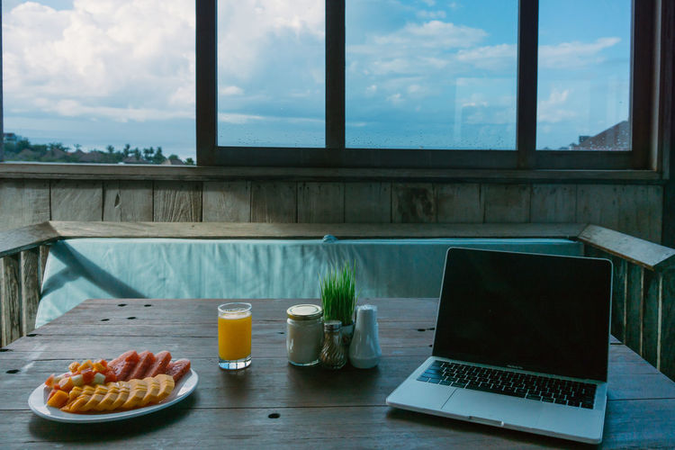 View of breakfast on table by window