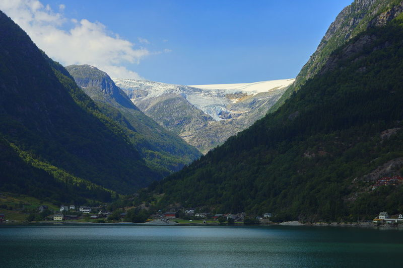 Folgefonna glacier, Odda, Norway Mountain Mountain Range Scenics - Nature Tranquil Scene Sky Tranquility Environment Landscape Waterfront Outdoors Idyllic Cloud - Sky Mountain Peak Formation Glacier Norway Scandinavia Fjord Nature Nature_collection Nature Photography Beauty In Nature