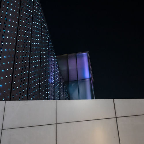 architecture Bangkok MBK center Low Angle View Night Architecture Illuminated Built Structure No People Indoors  Lighting Equipment Pattern Copy Space Building Light - Natural Phenomenon Modern Glowing City Light Geometric Shape Close-up Blue Purple Office Building Exterior Black Background Nightlife