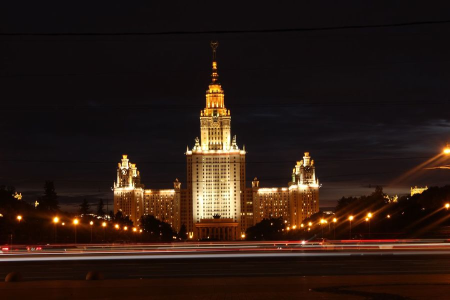 Moscow state university EyeEmNewHere Night Mocsow ночная Москва Москва МГУ Mgu Сталинские Высотки Stalin Skyscraper Stalinist Architecture Moscow State University Mgu Night Illuminated Architecture Built Structure Building Exterior City Building