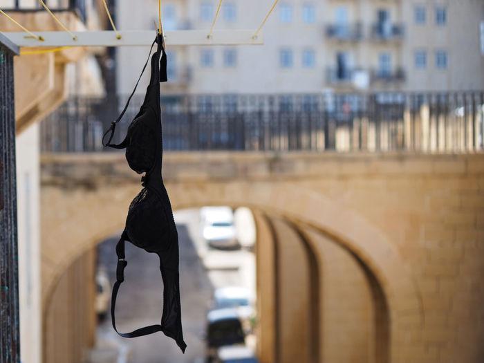 Close-Up Of Black Bra Hanging On Clothesline
