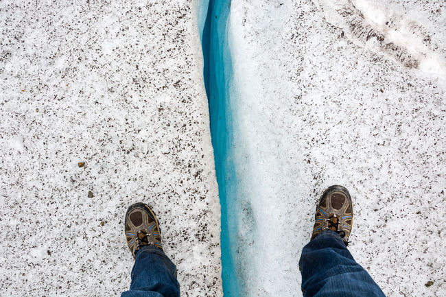 Mind the gap Above Aletschgletscher Blue Cold Crevasse Crevice Deep Glacier Ice Mind The Gap Rocks Shoe Snow Standing Stone