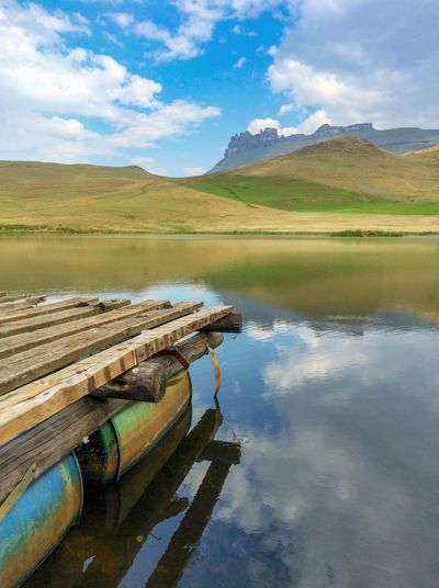 Rafting Exploring Kwazulu Natal Travel Destinations South Africa Water Reflection Mountain Scenics - Nature Landscape Environment Sky Cloud - Sky Nature Mountain Range Lake Tranquility Land Beauty In Nature Rural Scene Tranquil Scene No People Agriculture Non-urban Scene Outdoors
