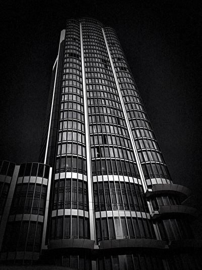 """""""The Monolith"""" I shot this a few years back in both color and black and white but only shared the color version at the time. This interpretation makes a stark statement about the many ways a photograph can speak to the viewer with different mediums. City Life Urbanphotography Urban Geometry Skyscraper Black And White Photography Black And White Black And White Blackandwhite San Francisco Low Angle View Built Structure Architecture No People Tall - High Building Exterior City Building"""