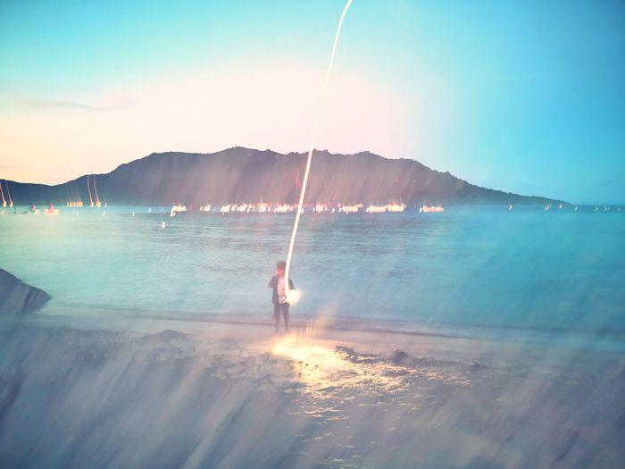 Light Water Sea Full Length Standing Sand Clear Sky Sunlight Mountain