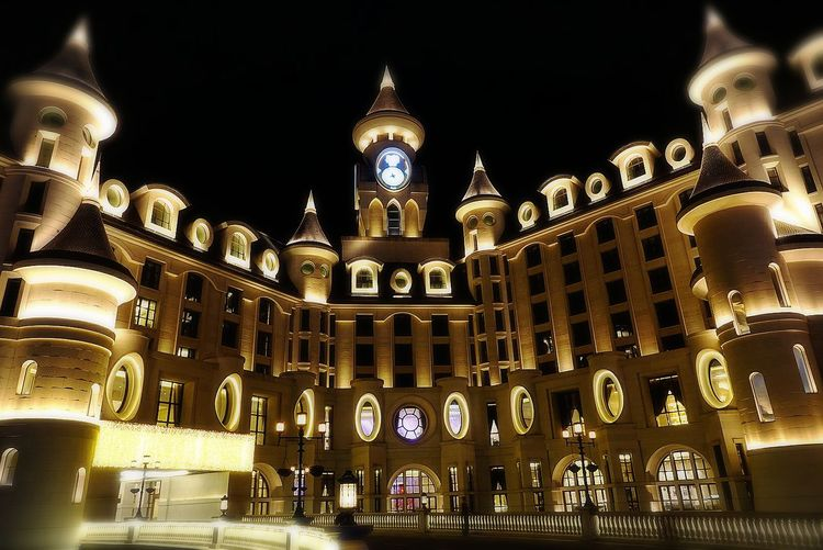 Hello Kitty Land Hotel Nightphotography Night Lights Politics And Government City Clock Face Illuminated Clock Sky