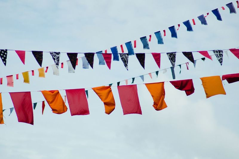 Prayer flags against sky