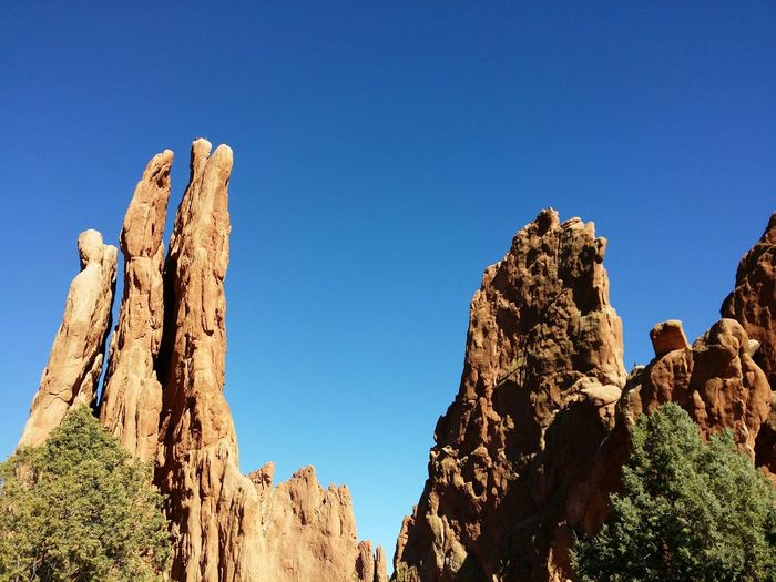 Rock Formation At Garden Of The Gods Against Clear Blue Sky