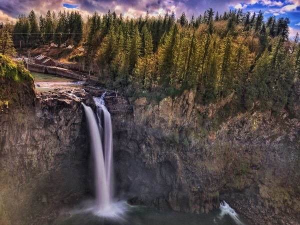 Snoqualmie Falls Waterfall Water River Motion Long Exposure Outdoors Nature