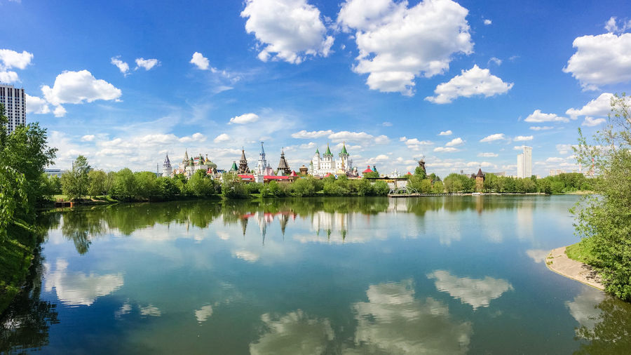 Views of the Izmailovo Kremlin from the Serebryano-Vinogradny pond, Russia, Moscow Russia. Moscow Castle Cityscape Kremlin Moscow Panorama Pond Russia Architecture Blue Building Exterior Built Structure Cloud - Sky Day Izmaylovo Lake Nature No People Outdoors Palace Park Reflection Sky Tree Water Waterfront The Week On EyeEm