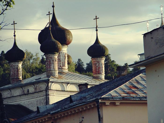 Churches of Gorokhovets, one of the oldest Russian cities Architecture Churches Cupola Day Golden Cross In The Middle Of Russia No People Old Town Outdoors Place Of Worship Sky Summer Travel Tourist Destination Travel Destination White Walls