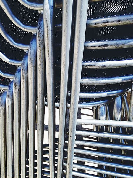 Endlessness Metal Chairs Stacks Of Chairs Geometric Lines IPhoneography