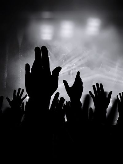 Human Hand Real People Human Body Part Silhouette Night Large Group Of People People Excitement Rock - Object Black Background Depeche Mode