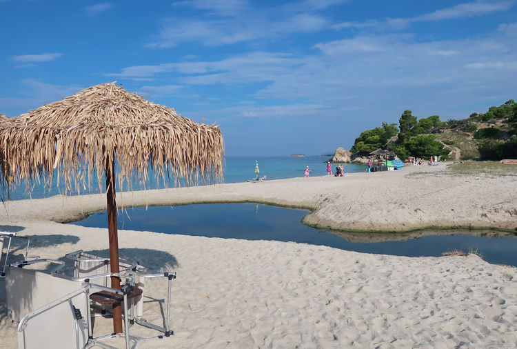 Kaviou beach, Sithonia - Greece GREECE ♥♥ Kaviou Beach Landscape_Collection Travel Beach Beach Umbrella Blue Chalkidiki Cloud - Sky Day Greece Landscape Nature Parasol Sand Scenics - Nature Sea Sithonia Sky Sunlight Sunshade Thatched Roof Travel Destinations Umbrella Water