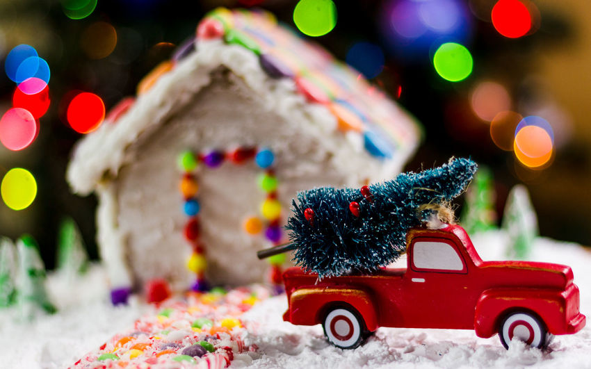 Gingerbread House Red Truck Background Christmas Bokeh EyeEm Selects Food Treat Bokeh Holidays Candycane  Candy Cane Candy Christmas Tree Christmas Decoration Christmas Lights Holiday Holidays Holiday Memories Gingerbread House Gingerbreadhouse Truck Snow Car Red Christmas Christmas Decoration Street Christmas Tree Multi Colored No People Winter