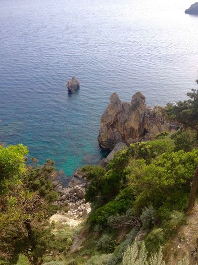 Beauty In Nature Blue Coastline Corfu Elevated View Green Color Idyllic Nature No People Remote Rippled Rock Rock - Object Rock Formation Scenics Sea Sea View Seascape Tranquility Turquoise Water Water
