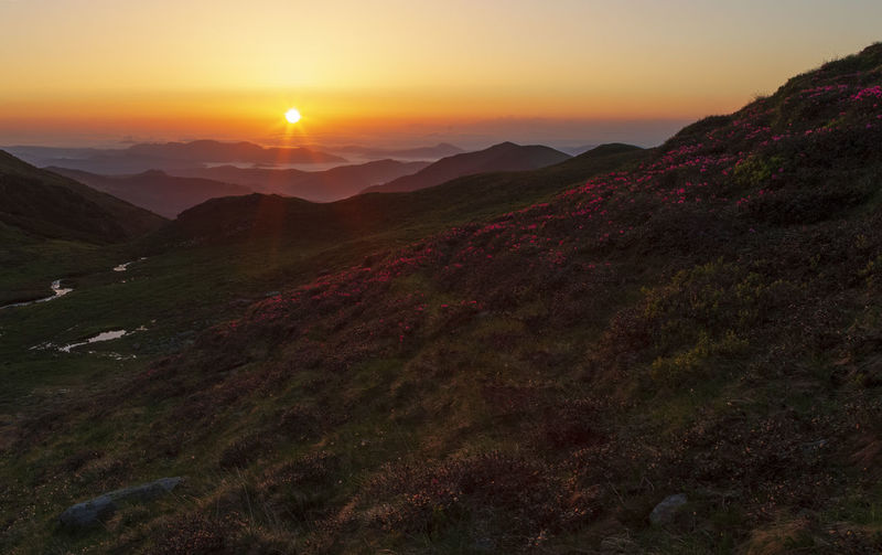 Beauty In Nature Environment Idyllic Land Landscape Lens Flare Mountain Mountain Range Nature No People Non-urban Scene Orange Color Outdoors Remote Scenics - Nature Sky Sun Sunlight Sunset Tranquil Scene Tranquility