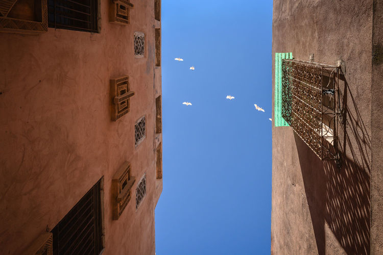 """Birds in the sky of Marrakesh. Marrakesh, also known by the French spelling Marrakech, is a major city of the Kingdom of Morocco. It is the fourth largest city in the country, after Casablanca, Fez and Tangier. It is the capital city of the mid-southwestern region of Marrakesh-Safi. Located to the north of the foothills of the snow-capped Atlas Mountains, Marrakesh is situated 580 km (360 mi) southwest of Tangier, 327 km (203 mi) southwest of the Moroccan capital of Rabat, 239 km (149 mi) south of Casablanca, and 246 km (153 mi) northeast of Agadir. The ramparts of Marrakesh, which stretch for some 19 kilometres (12 mi) around the medina of the city, were built by the Almoravids in the 12th century as protective fortifications. The walls are made of a distinct orange-red clay and chalk, giving the city its nickname as the """"red city""""; they stand up to 19 feet (5.8 m) high and have 20 gates and 200 towers along them.[90] Bab Agnaou was built in the 12th century during the Almohad dynasty. The Berber name Agnaou, like Gnaoua, refers to people of Sub-Saharan African origin (cf. Akal-n-iguinawen – land of the black). The gate was called Bab al Kohl (the word kohl also meaning """"black"""") or Bab al Qsar (palace gate) in some historical sources. The corner-pieces are embellished with floral decorations. This ornamentation is framed by three panels marked with an inscription from the Quran in Maghrebi script using foliated Kufic letters, which were also used in Al-Andalus. Bab Agnaou was renovated and its opening reduced in size during the rule of sultan Mohammed ben Abdallah. Bab Aghmat is located east of the Jewish and Muslim cemeteries, and is near the tomb of Ali ibn Yusuf.[91] Bab Berrima with its solid towers stands near the Badi Palace. Bab er Robb (meaning """"Lord's gate"""") is a southern exit from the city, near Bab Agnaou. Built in the 12th century, it provides access to roads leading to the mountain towns of Amizmiz and Asni. Bab el Khémis, situated in the medina's nort"""