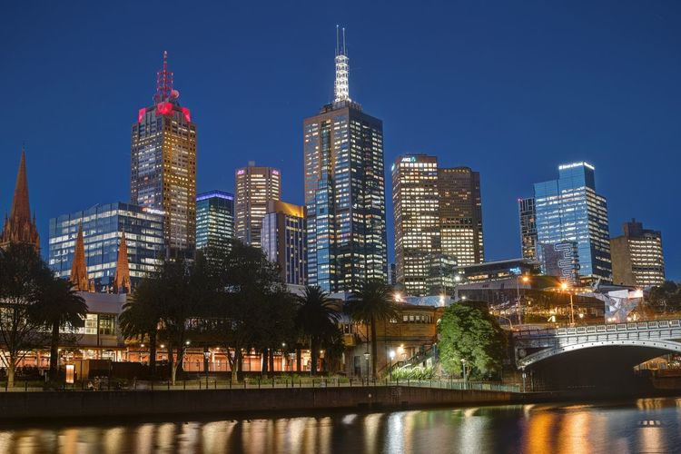 City Melbourne City Night Photography Nightphotography Skyline Architecture Bridge - Man Made Structure Building Building Exterior Built Structure City Cityscape Clear Sky Downtown District Illuminated Melbourne Modern Night Reflection Skyscraper Travel Destinations Tree Urban Skyline Water Waterfront