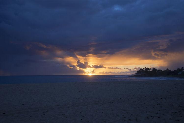 Hawaii Sunset Beach Blue Hawaii Ocean Orange Rays Rays Of Light Rays Of Sunshine Sand Sun Sunset Water