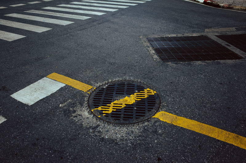Asphalt Road Street Metal Grate Yellow No People Telling Stories Differently EyeEmNewHere Art Is Everywhere Cut And Paste 10