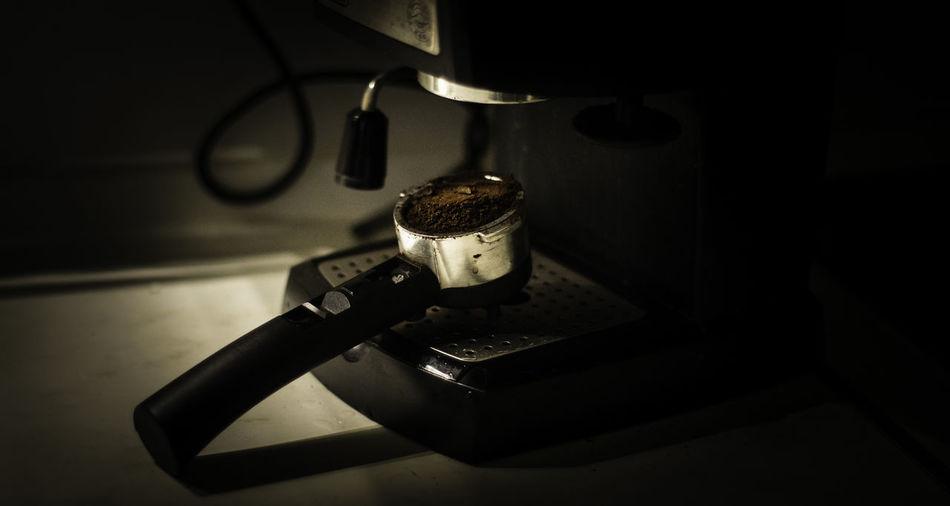 Portafilter on coffee machine at cafe