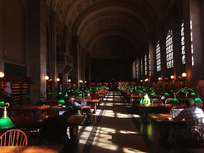 Library Green Lamp Real People Architecture Illuminated People Boston Studying Indoors