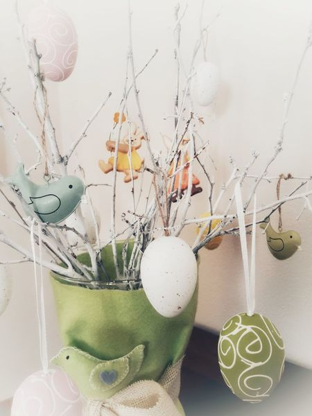 Happy Easter 🐣 Creativity Easter Eggs Decoration Home Interior Easter Tree Hanging Pastel Colored Celebration Close-up Easter Bunny Easter