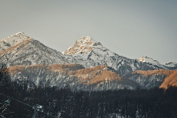 Scenic View Of Mountains During Winter