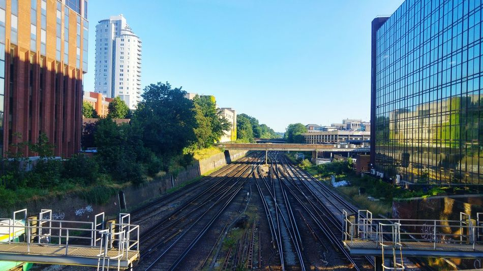 Railway Tracks Train Journeys Croydon UK Tall Buildings Blue Sky Bright Sunny Day Summer2016