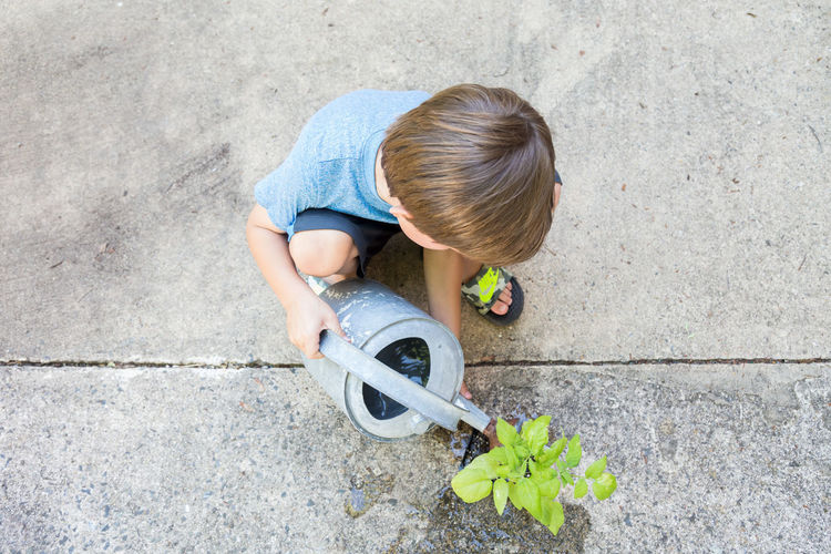 High angle view of boy watering plant