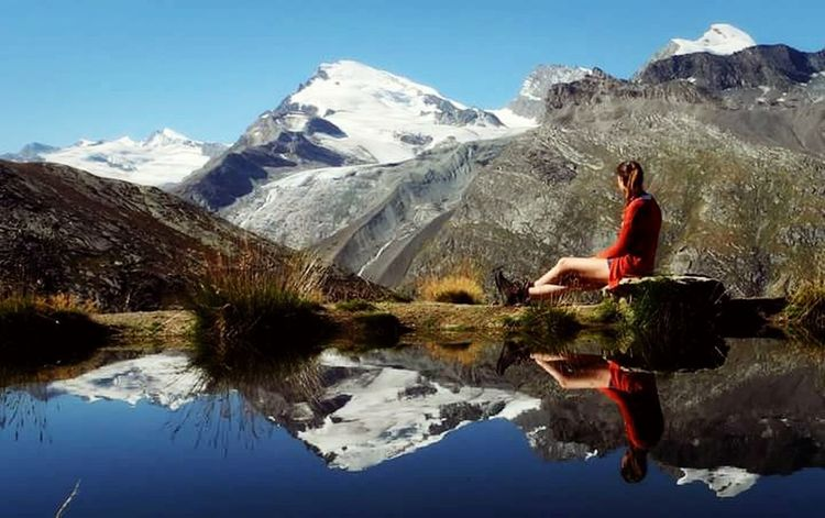 Saas Fee Mountain Nature Lake People And Places Mountain Range Switzerland Sitting Suisse  Idyllic Sky Beauty In Nature Travel Destinations Saasfee