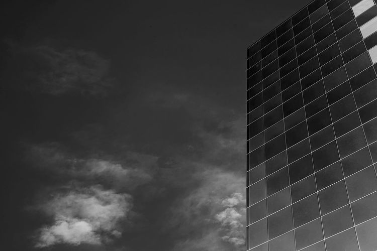Blackandwhite Building Exterior Sky Cloud - Sky Low Angle View Built Structure Architecture Building Office Building Exterior No People Nature Office Tall - High City Modern Day Outdoors Pattern Skyscraper Tower