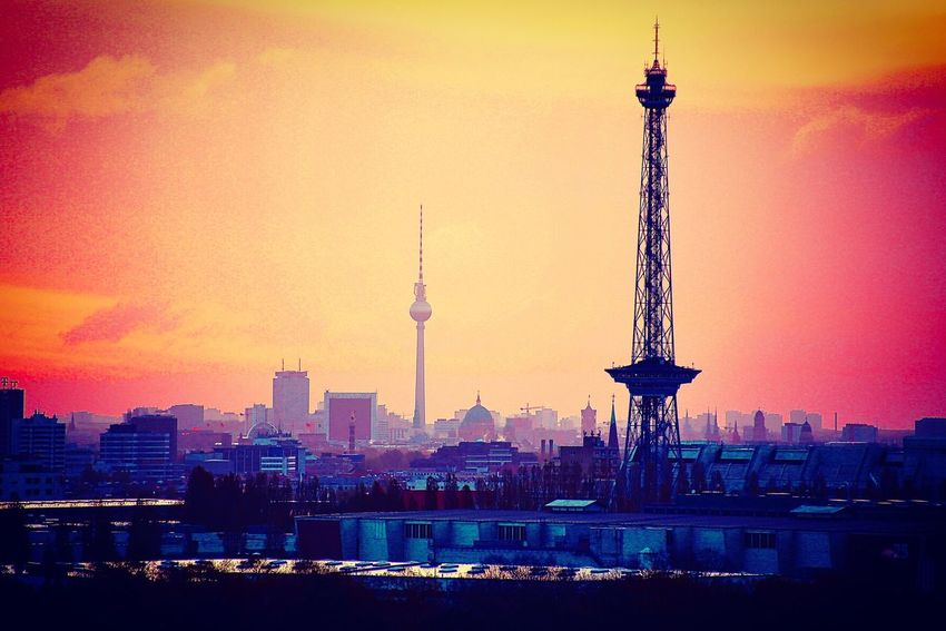 Architecture Tower Tall - High Travel Destinations Built Structure City Building Exterior Skyscraper Cityscape Tourism Travel Spire  Sky Urban Skyline Sunset Outdoors Water Modern No People berlin city germany EyeEmNewHere