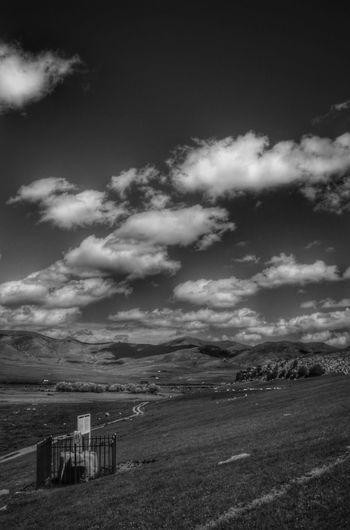 Mongolia Beauty In Nature Black And White Cloud - Sky Day Environment Land Landscape Monument Nature No People Non-urban Scene Orkhon Valley Outdoors Scenics - Nature Sky Steppe Tranquil Scene Tranquility Монгол улс