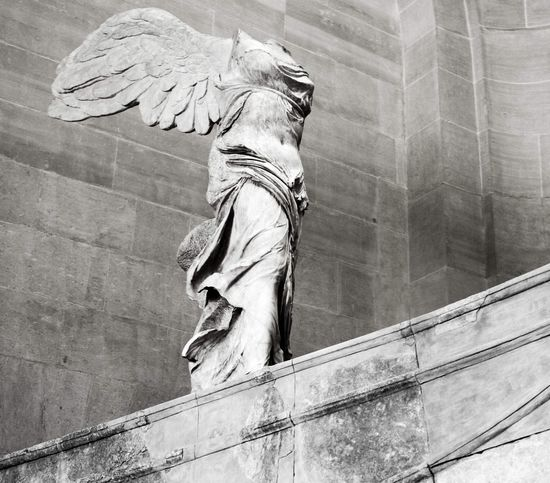 The Winged Victory of Samothrace Wings Black And White Museum Art And Craft Low Angle View Architecture Human Representation Creativity Representation Day Sculpture Statue Craft History The Past Carving - Craft Product Female Likeness