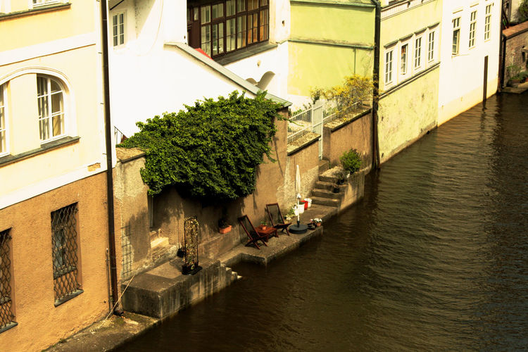 Architecture Building Exterior Chill Day Outdoors Prague River Riverside Spring Sunny Terrace Water