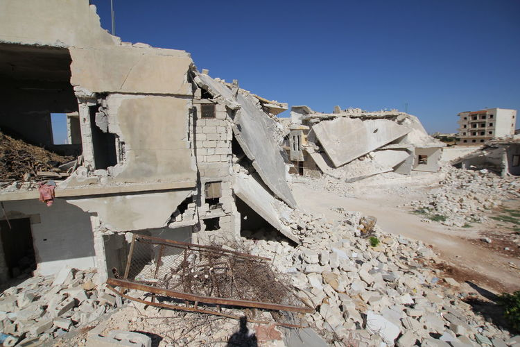 Collapsed building due to war in Aleppo, Syria Collapse Humanitarianwork Syria  Building Collapsed Building Demolished Demolished Building Demolishing Buildings Effect Of War Humanitarian No People Outdoors War