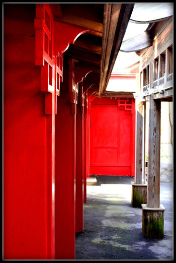 Architectural Column Architecture Building Exterior Built Structure Color Enhanced Door In A Row Pattern Red