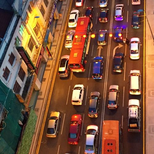 View down from my office window at the traffic congestion at sunset First Eyeem Photo
