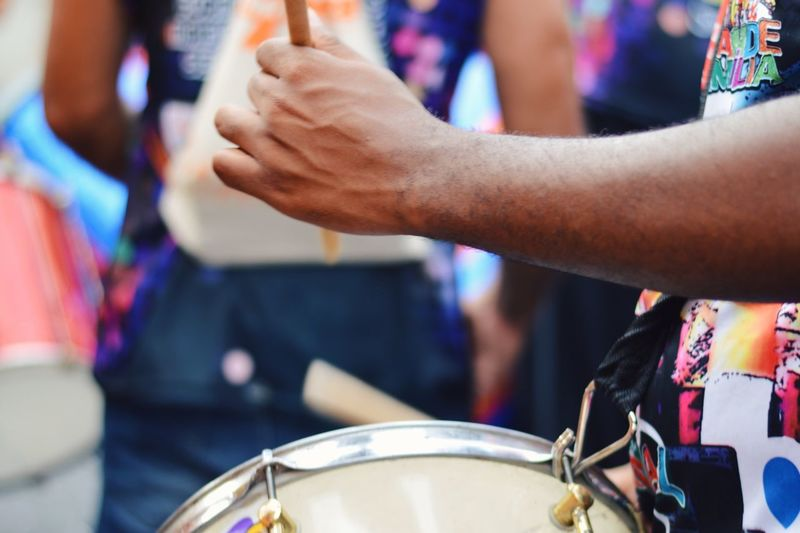 Close-Up Of Man Playing Drum